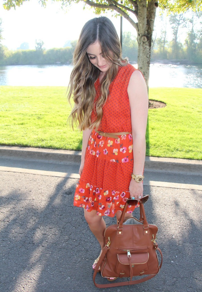 red orange floral dress